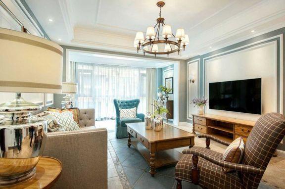 客廳白色吊頂美式風格裝修圖片