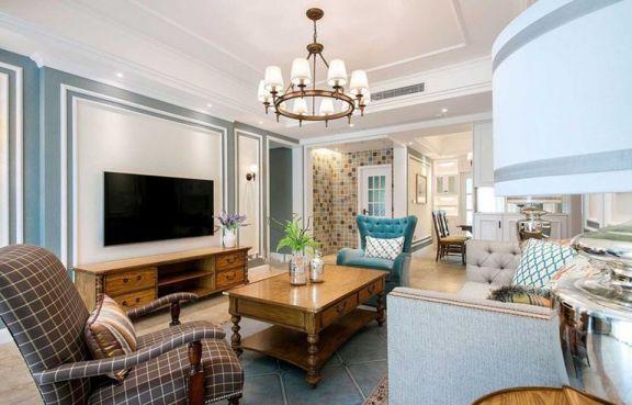 客廳咖啡色電視柜美式風格裝飾圖片