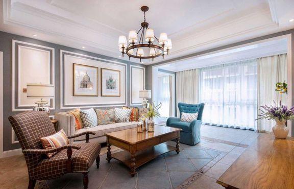 客廳米色窗簾美式風格裝修設計圖片