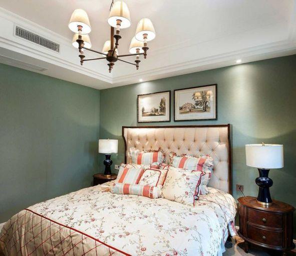 臥室綠色背景墻美式風格裝潢設計圖片