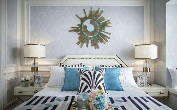 臥室藍色背景墻混搭風格裝飾效果圖