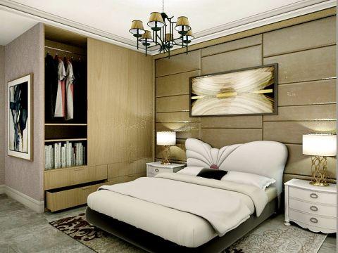臥室黃色背景墻簡歐風格裝潢效果圖