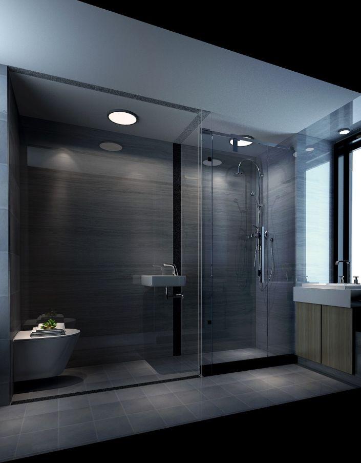 衛生間灰色背景墻北歐風格裝潢設計圖片