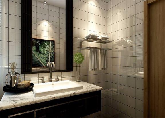 衛生間灰色洗漱臺新中式風格裝飾設計圖片