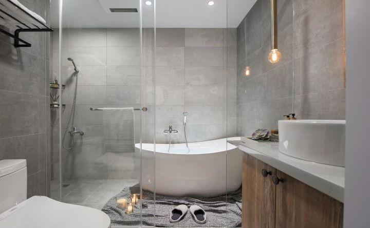 衛生間白色浴缸北歐風格裝飾效果圖
