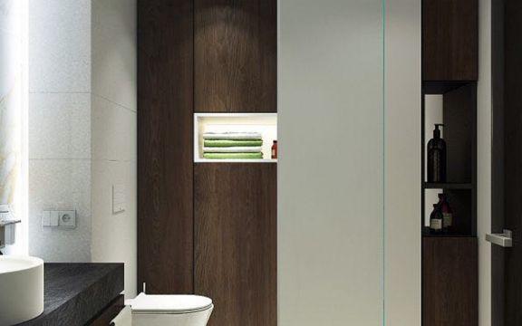 衛生間咖啡色背景墻現代風格裝飾效果圖