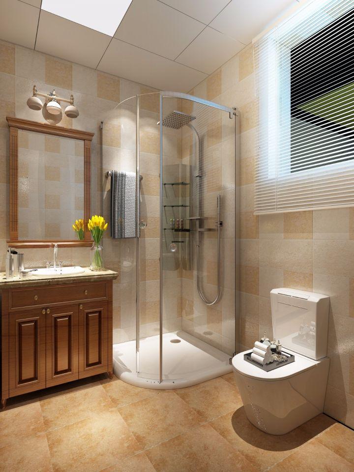 衛生間黃色地磚美式風格裝潢設計圖片