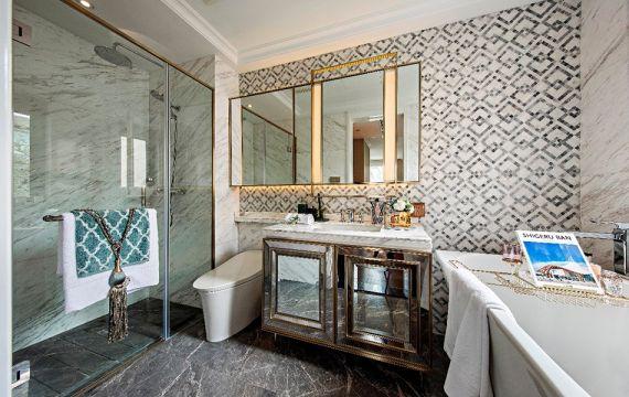 衛生間黑色地磚簡歐風格裝潢圖片