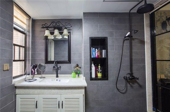 衛生間灰色背景墻美式風格裝飾效果圖