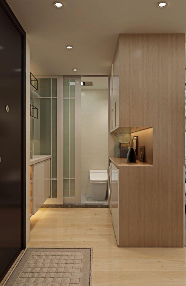 衛生間黃色地磚日式風格裝修設計圖片