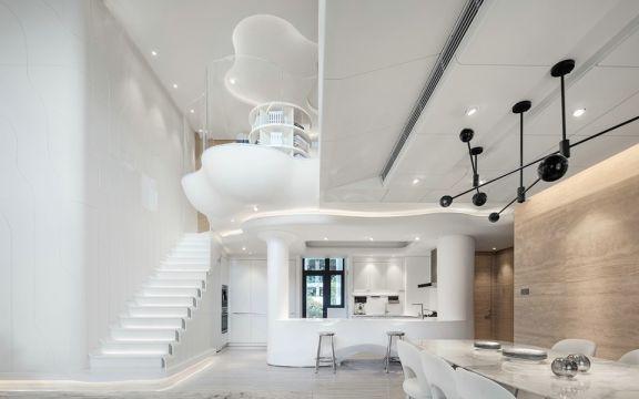 设计精巧现代白色楼梯装饰设计图片
