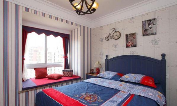 古朴蓝色卧室装饰效果图