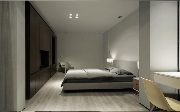 自然卧室北欧装潢实景图