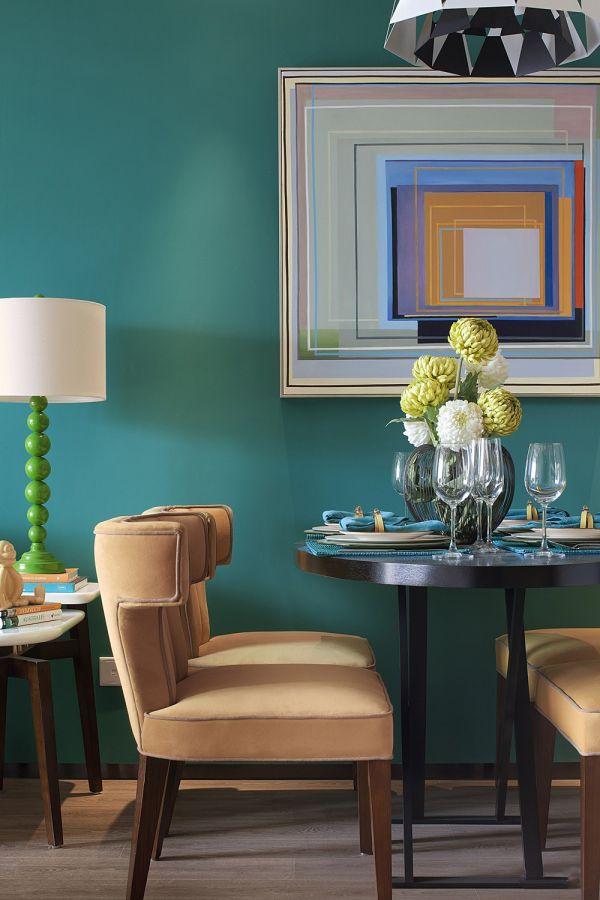 餐厅绿色背景墙简欧风格装饰图片