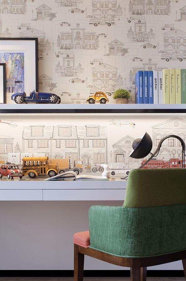 书房白色书桌简欧风格装修设计图片