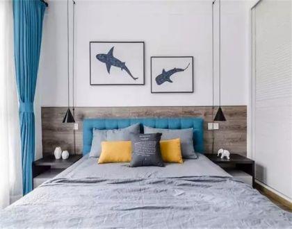 卧室背景墙北欧实景图