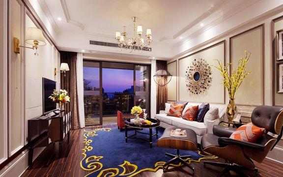 温馨黄色客厅装潢效果图