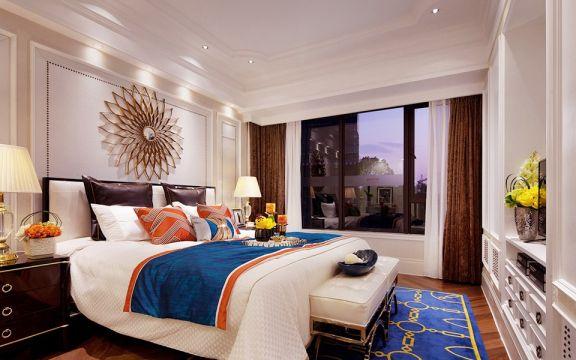 卧室米色背景墙美式风格装修效果图