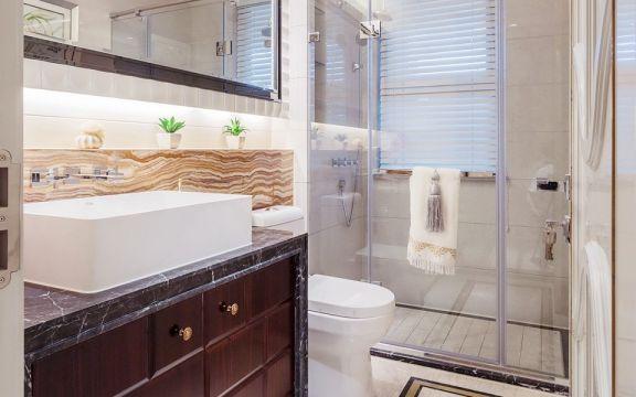 美式卫生间洗漱台装饰实景图片