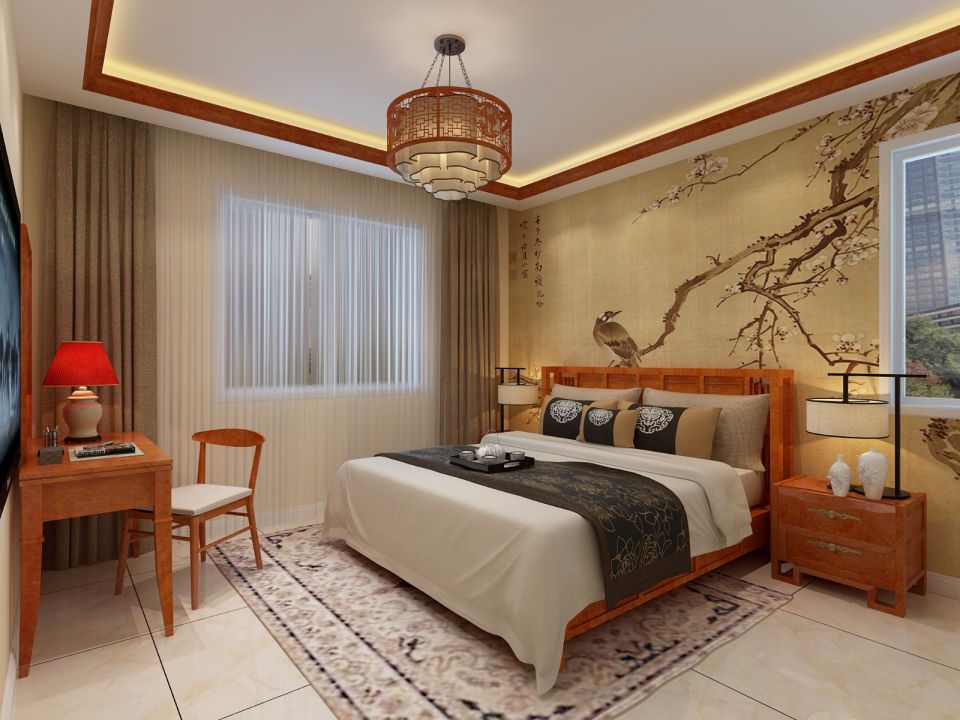 2019中式卧室装修设计图片 2019中式背景墙图片