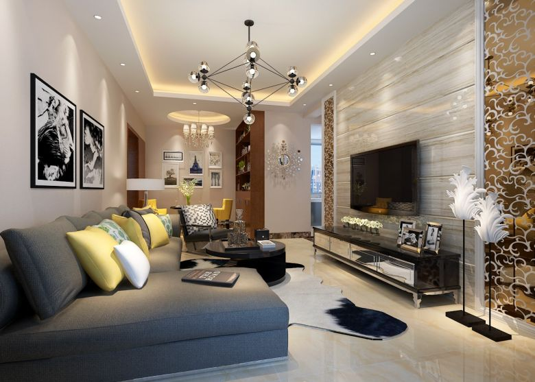 客厅灰色沙发设计效果图