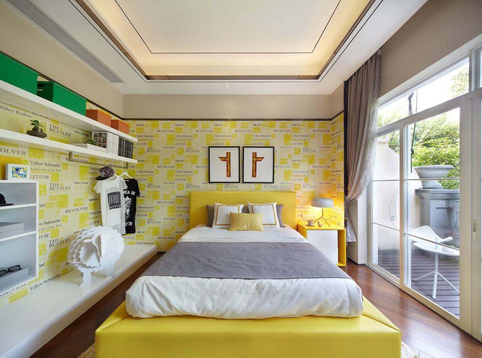 温馨现代黄色床家装设计