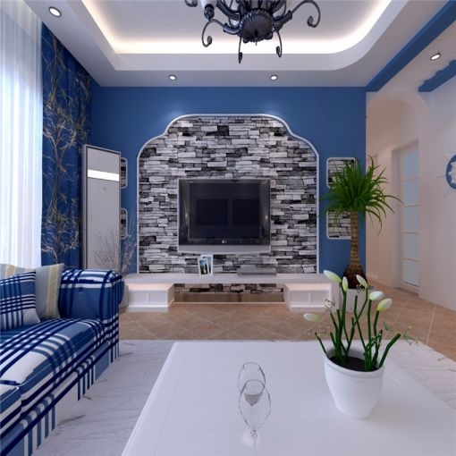 2018地中海客厅装修设计 2018地中海电视柜装修效果图片