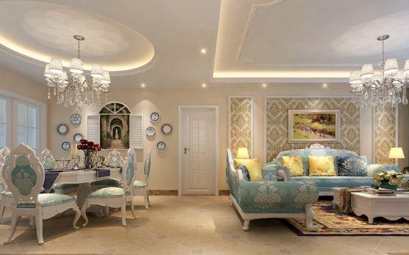 雅致米色客厅装潢实景图片