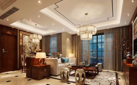 107平中式风格三室两厅装修效果图