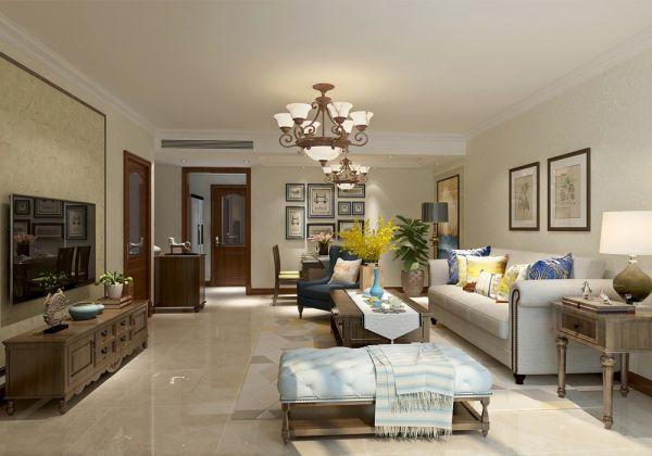 110平美式风格两居室装修效果图