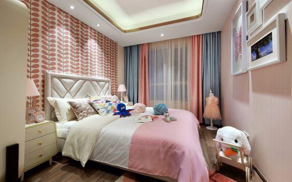 设计优雅简约粉色窗帘室内装修设计