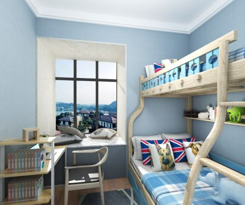 儿童房背景墙简欧装饰设计图片
