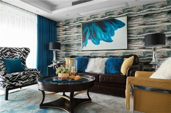 客厅背景墙美式装潢实景图片