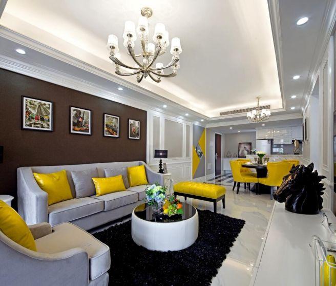 客厅沙发欧式装潢实景图片
