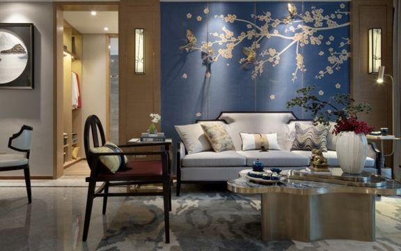 客厅沙发中式装修案例