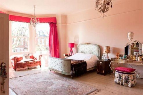 摩登美式红色窗帘室内装饰