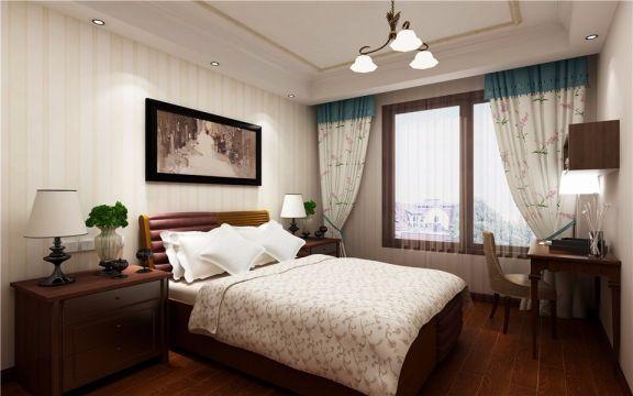 迷人新中式咖啡色床平面图