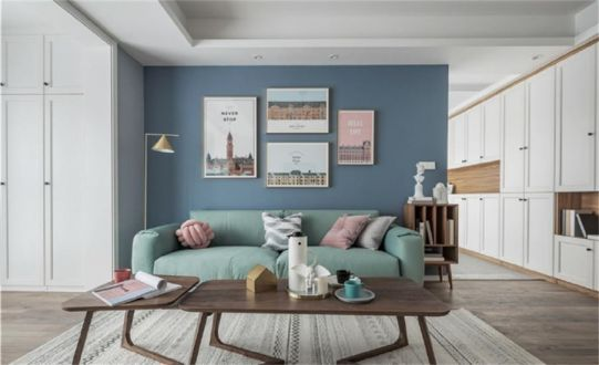 典雅欧式蓝色照片墙装修效果图