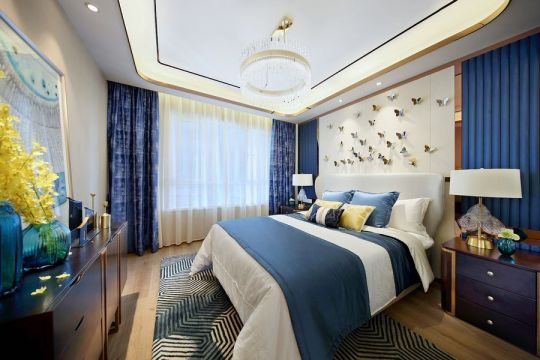 清新现代蓝色窗帘设计