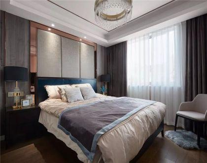现代卧室窗帘装潢实景图