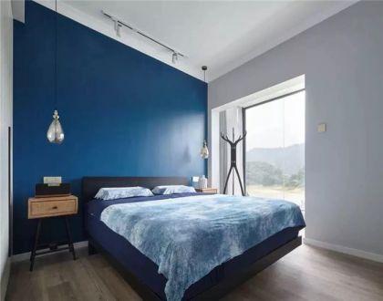卧室蓝色背景墙装潢图片