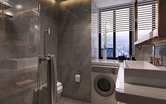 清新素丽灰色卫生间装潢图片