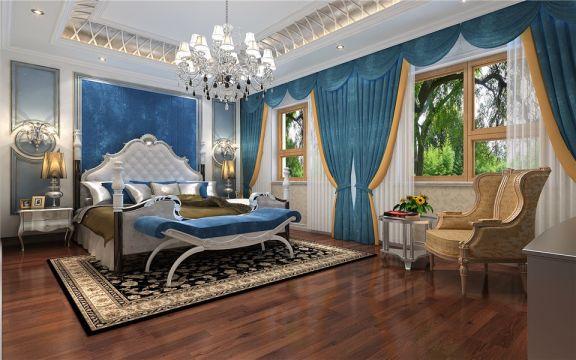 淡雅蓝色卧室平面图