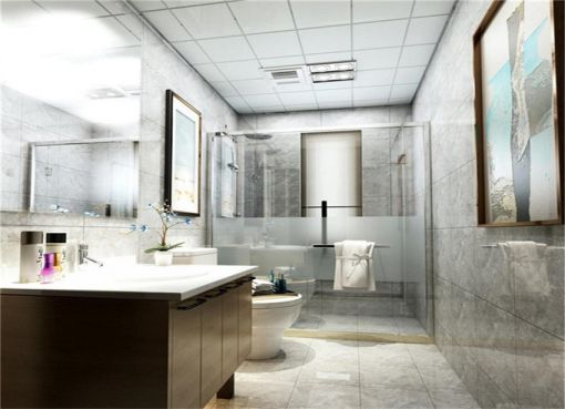 现代卫生间背景墙实景图