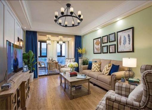 94平中式风格三居室装修效果图