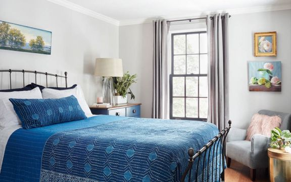 卧室灰色窗帘装潢效果图