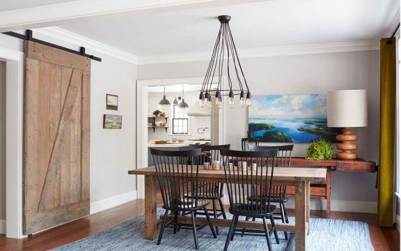 风雅美式咖啡色餐桌装潢设计图片