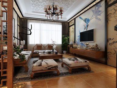 118平新中式风格三居室装修效果图