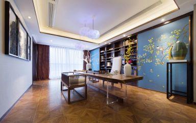 书房咖啡色窗帘室内装修设计