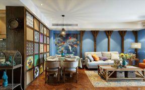 95平东南亚风格三居室装修效果图